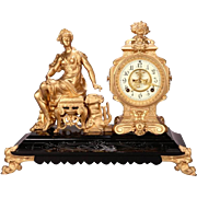 Antique Ansonia Bronzed Classical Figural Mantel Clock, circa 1880
