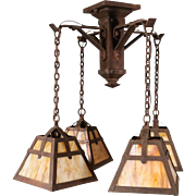 Antique Arts and Crafts Four-Arm Chandelier with Slag Glass Shades, circa 1910