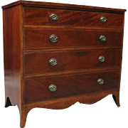 Antique English Flame Mahogany Hepplewhite Inlaid Banded Chest of Drawers