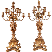 Antique French Second Empire Gilt Bronze Oversized Candelabra, 1870
