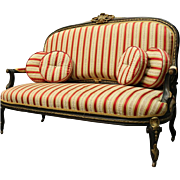 Antique French Louis XIV Style Ebonized and Ormolu Sofa Settee, circa 1880