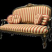 Antique French Louis XIV Style Ebonized and Ormolu Sofa Settee, circa 1880