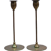 Antique Arts & Crafts Jarvie Brass Candlesticks, Signed, circa 1910