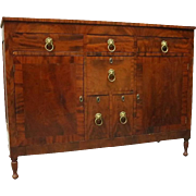 Antique Sheraton Flame Mahogany Sideboard with Cast Bronze Lion Pulls