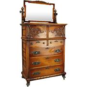 Oversized Antique Carved Oak and Bronze Five-Drawer Bonnet Chest, circa 1880