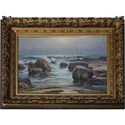 Oversized Oil on Canvas of Seascape by William Henry Howe, 1906