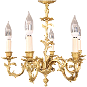 Antique French Louis XIV Style Gilt Bronze Foliate Six-Arm Chandelier, late 19th Century