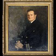Large Howard Chandler Christy Oil on Canvas Portrait of Naval Officer, 1941