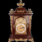 Oversized Antique English Mahogany and Bronze Ormolu Bracket Clock, circa 1830