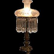 Antique Bronze Sinumbra Lamp with Wheel Cut Tam-O-Shanter Shade, circa 1840