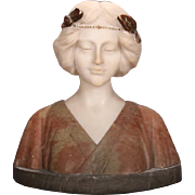 Antique Italian Two-Tone Carved Alabaster Bust of Classical Woman, circa 1890