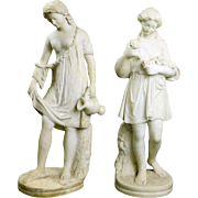 Pair of Antique Carved Italian Classical Alabaster Statues of Maidens, circa 1870