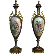 Pair of Antique French Porcelain Sevres Hand-Painted Urns with Bronze Mounts, circa 1870