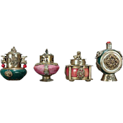 4 Antique Chinese Hard Stone Jeweled Scent Bottles w/Silver, Early 20th C