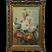 Antique Pastel Floral Still Life, Peonies by B. Peadon, 1905