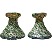 Pair of Antique Moorish Crackle Finish Durand Art Glass Candle Sticks, circa 1920