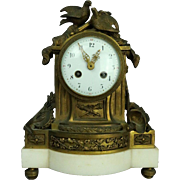 Antique Figural French Louis XIV Style Bronze Boudoir Clock Mvmt by Daubref 1880