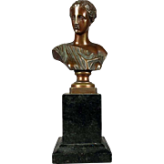 Antique Bronze Bust of Grand Tour Greek Classical Figure, Late 19th Century