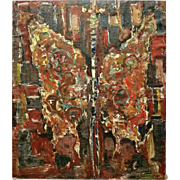 "Vintage Polish Abstract Oil on Canvas Painting ""Motyl"" 'Butterfly' by Jan Grabowski, 1965"