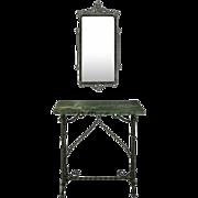 Antique Oscar Bach Style Marble Top Wrought Iron Console and Mirror, circa 1890