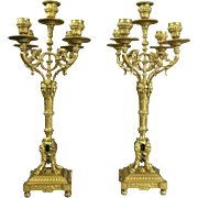 Pair of French Empire Figural Gilt Bronze Five-Light Candelabra, circa 1840
