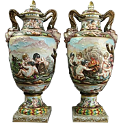 Pair of Italian Capodimonte Lidded Hand-Painted Porcelain Urns, 19th Century