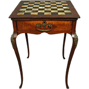 Antique French Style Slate Top Mahogany & Bronze Chess/Checkers Game Table, 1900