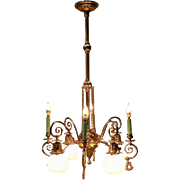 Antique Victorian Eight-Arm Electrified Combination Chandelier, Late 1800s