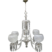 Oversized French Cut-Glass Baccarat Style Four-Light Chandelier Mid-20th Century