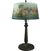 Pittsburgh Lamp Reverse Painted with Jungle Scene on Pleated Glass Shade