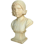 19th Century Finely Carved Marble Sculpture of Dutch Young Girl, circa 1880