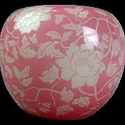 Antique Steuben Rosaline Acid Cut Back Floral Vase, circa 1920