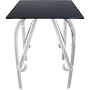 Mid-Century Modern Lucite Lamp Table with Black Glass Top, Thrush Mfg. Co.