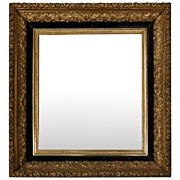 Antique First Finish Gold Gilt and Velvet Framed Wall Mirror, Dated 1888