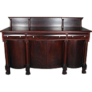Antique 2nd Empire Flame Mahogany Classical Sideboard, circa 1890