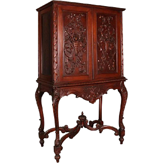 Antique French Louis XIV Style Carved Walnut Cupboard with Secretary, circa 1920