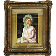 Antique Oil on Canvas of Young Girl by Joseph Hilpert, Signed & Dated, 1893
