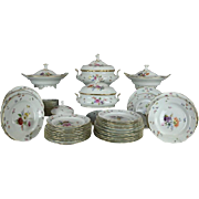 56 Piece Antique Hand-Painted Meissen Dinnerware, Flowers & Insects, circa 1890