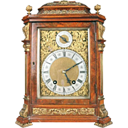 Antique English Lenzkirch Bracket Clock Burl Walnut and Bronze, circa 1880