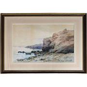 Antique Watercolor Oversized Seascape by Hardwick, circa 1910