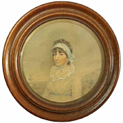 Antique Miniature Watercolor Painting of Lady Mount Stephen, 19th Century