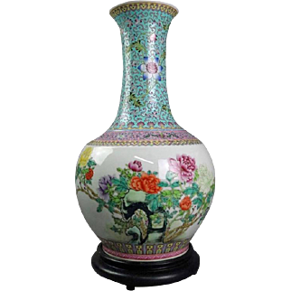 Antique Chinese Famille Verte Floral Qianlong Porcelain Lamp with Chop Marks