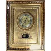 Antique Viennese Gold Giltwood Picture Frame Sonnerie Wall Clock, circa 1840