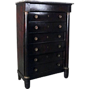 Antique French Empire Mahogany 7-Drawer Marble-Top Tall Chest, 19th C