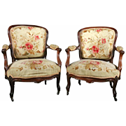 Pair of Antique French Louis XV Rosewood Fauteuils, circa 1880