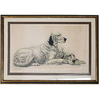 Leon Danchin Oversized Framed and Matted Print of Engraving English Setters