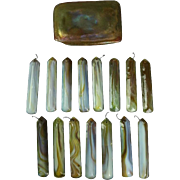 20th Century Tiffany, 15 Opaque Swirl Glass Prisms & Favrile Turtle Back Tile