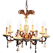 Antique Brass and Porcelain Eight-Light Chandelier, circa 1930
