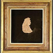 "Antique Framed English Miniature Wax Profile Cameo ""Lord Jeffreys"", circa 1890"