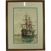 """Antique English Watercolor of Ship """"HMS Victory"""" by Charles Brewer, Late 19th C"""